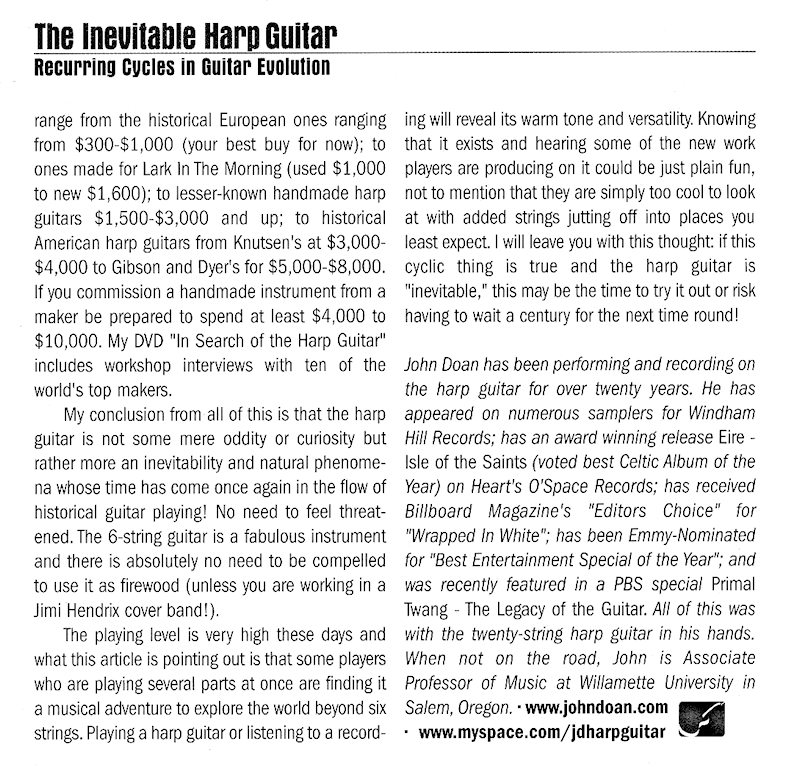Fingerstyle Guitar Magazine - The Inevitable Harp Guitar - no.66 pg44
