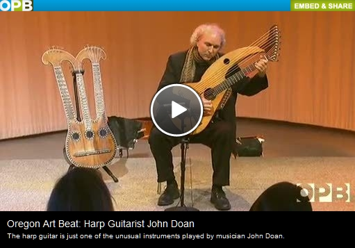 John Doan on OBP TV Oregon Art Beat show with harp guitar and harpolyre