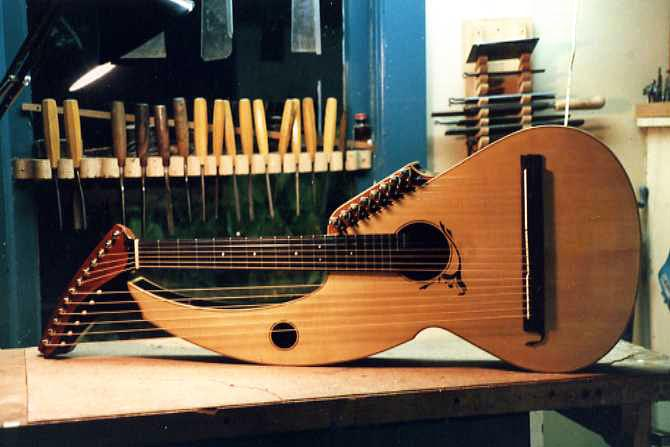 Sullivan-Elliott Harp Guitar during manufacturing - photograph by Jeffrey Elliott